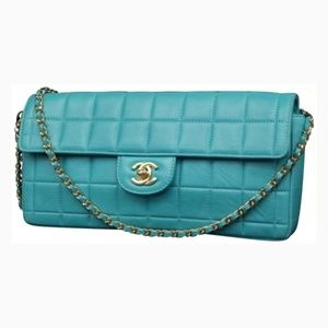 Chanel Quilted Teal Chocolate Bar Lambskin East